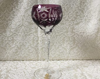 "Vintage Nachtmann Traube Wine Goblet Amethyst Cut to Clear 6 7/8"" Tall Label Attached"