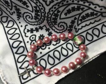 Rose Cross Bracelet, Cross Bracelet, Communion Bracelet, Godmother Bracelet, Godchild Bracelet, Baptism Bracelet, Religious Bracelet