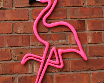 Lilibet Neon Pink Large Flamingo | Handmade Wall Decoration | Unique and Fun Wool Art