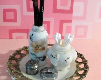Vintage Milk Glass  salt shakers