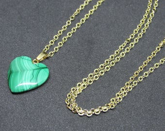Malachite Heart Pendant Necklace (14K Gold Plated)