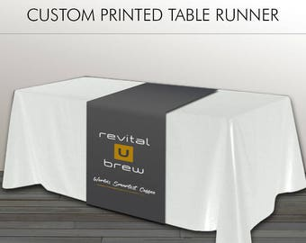 Revital U Table Runner - Smart Coffee - Charcoal Grey with RevitalU Tan & White - Dye Sublimation - PRINTED and SHIPPED directly to YOU!