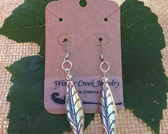 Silver Dangle Earrings with Flowers and Stems Motif