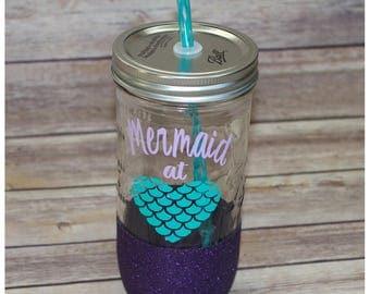 Mermaid Glitter Dipped Mason Jar Tumbler