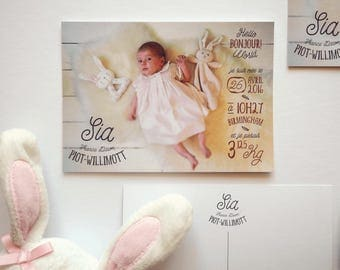 Sia — Birth Announcement Card, new baby, baby Christening, special occasion