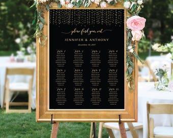 PRINTABLE Wedding Seating Chart, Wedding Seating Chart, Wedding seating template, Navy seating chart, Seating chart, Navy and gold, SC105