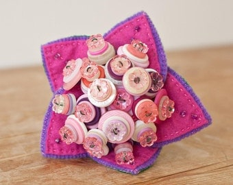 Flower Girl Button Bouquet with beaded felt leaves
