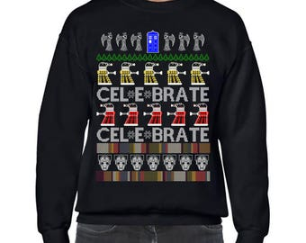 Ugly Christmas Sweater, Dr Who, Doctor Who, Ugly Christmas Party, Dc Who Sweatshirt, Ugly Sweater Party, Ugly Sweater