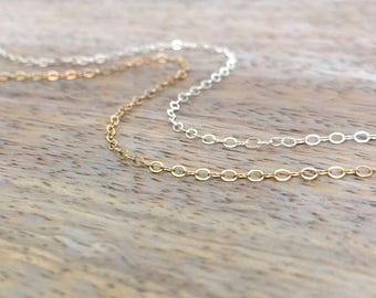 Simple Necklace 14K Gold Filled Necklace Simple Sterling Silver Chain Simplistic Necklace Plain Basic Necklace Layered Necklace Mens Gold