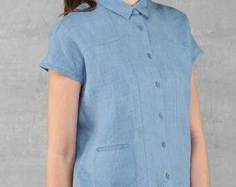 LINEN blouse - made in Europe - light blue Summer garment