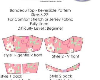 Bandeau Bustier pdf Pattern -Instant Download - Sizes 6 TO 22 (UK) 2-18 (UK) - Easy To Sew!