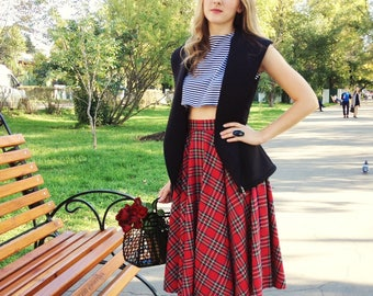 Red Plaid Midi Skirt, Tartan Knee Length Woman Skirt, Circle Skirt with pockets, Red Midi Skirt