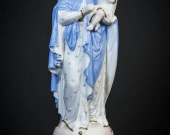 Beautiful Antique Madonna w Child Jesus Bisque Porcelain Statue Virgin Mary 6