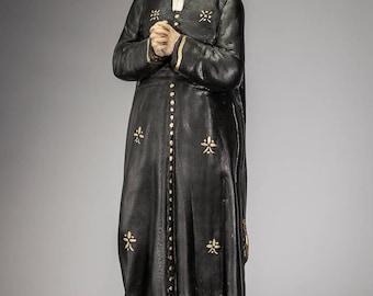 "Don Bosco Plaster Statue | Saint John Bosco Chalk Figure | St Father of Youth Vintage Figurine | 17"" Large"