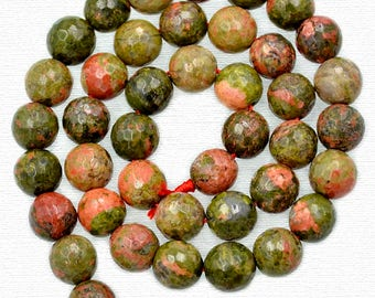 Natural Faceted Green Red Unakite beads, Gemstone Beads, Stone Spacer Beads, Round Natural Beads,  4mm 6mm 8mm 10mm  15''5 strand
