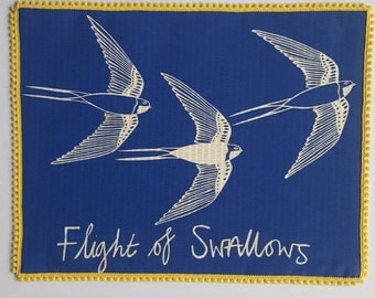 Flight of Swallows print, Bird screenprint, Swallow print, Print of Swallows, Bird print, Bird lover gift, custom made prints.