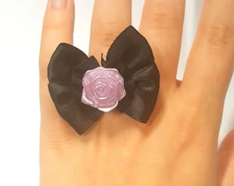 Pastel goth ring with black bow and pink rose, silver ring, fairy kei ring, kawaii ring, cute ring, rose ring, pastel goth ring, bow ring