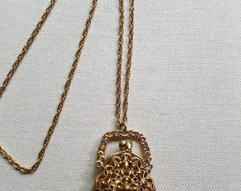 Vintage Gold Tone Filigree Victorian Inspired Purse Pendant Necklace.