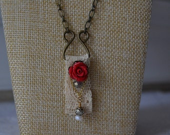 Single Red Rose Necklace