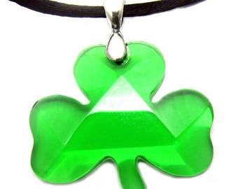"925 Sterling Lucky Jewelry Green Shamrock 18"" Necklace Irish St Patrick's Day"