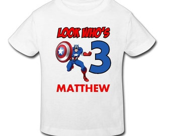 Captain America Birthday T-shirt - Personalized Birthday T- shirtBirthday// 1st, 2nd, 3rd, 4th, 5th Birthday - Fast Shipping!