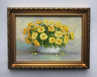 Mini Oil Painting Original framed home nursery living room decor miniature daisy flowers still life impressionism artwork gift for her