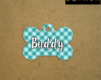 Dog tag for dogs personalized - Pet id Tag geometric - blue white black Pet tag plaid - custom Id tag for pet