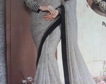 Georgette saree, creamy colour saree