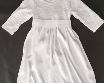 LDS Baptism Dress, Ivy baptism dress, white baptism dress, communion dress, white flower girl dress, girls lace dress, twirl skirt dress