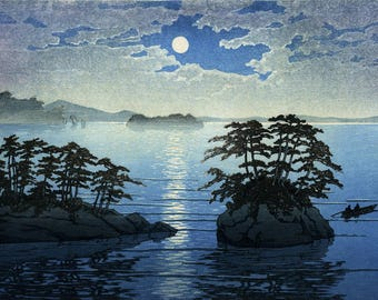 "Japanese Art Print ""Moonrise at Futago, Matsushima"" by Kawase Hasui, woodblock print reproduction, asian art, night, full moon, sea"