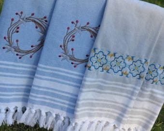 Custom Embroidered Kitchen Hand Towels in Blue, Gray or Green