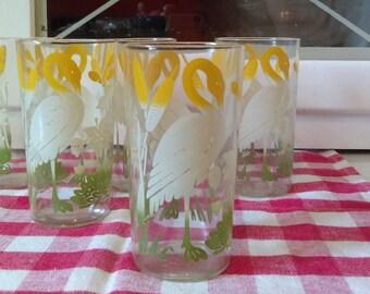 Vintage Swan Juice Glasses