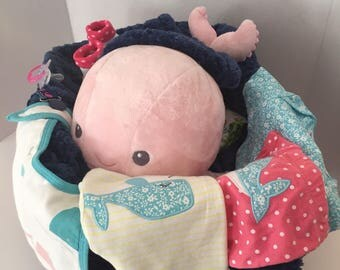 Pink whale diaper basket
