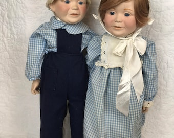 Vintage German Pair of Porcelain Dolls Excellent Condition