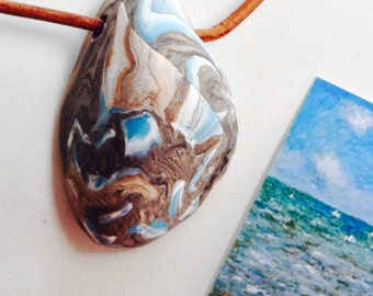 WATER 16 Nature Elements Necklace Unique Handmade Artistic Pendant Stone Adjustable Leather Cord Perfect Gift for Her