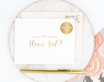 Will You Be My Flower Girl Card, Flower Girl Card, Wedding Party Card, Bridal Party Card, Flower Girl Proposal Card, Gold Foil