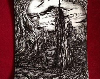 Original ink drawing, pen drawing, black ink drawing, fantasy art, original art work, ink illustration, post apocalyptic, black and white