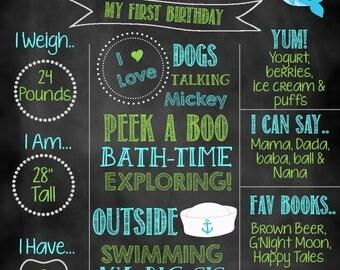 Nautical Boy Birthday Chalkboard, Birthday Chalkboard, Birthday Photo Prop