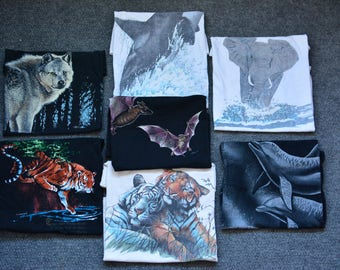 Vintage Harlequin Nature Graphics 88-90s T-shirts set of 7 pcs L-XL Wolves Tee Gregg Murray Ken Drewke Nancy Blauers Wild