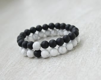 Matching Bracelets Black and White Bracelets Couples Bracelet Howlite Bracelet Onyx Bracelet Friendship Bracelet Long Distance Bracelet Set
