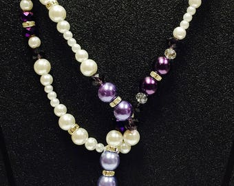 Purple and White Pearl Drop Thru Necklace