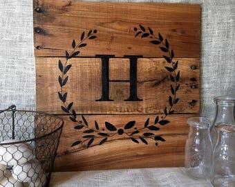 Monogram Laurel Wreath pallet wood hand painted sign