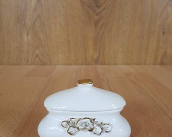 Vintage Trinket Box - Large White and Gold Floral Ceramic Handmade Jewelry Box