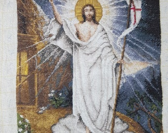 Tapestry - Embroidered pictures - Vintage Embroidered - Hand Made Embroidered - Jesus.