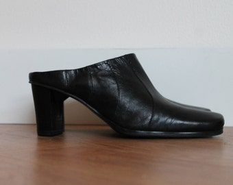 Vintage 80s black leather mules with square toe | Size US 7 EUR 38