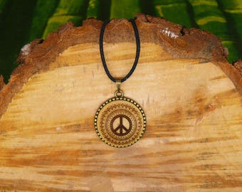 "Soul slices ""Peace Mandala"" 25mm bronze + wood necklace, vintage * Ethno * hippie * MUST have * statement *"