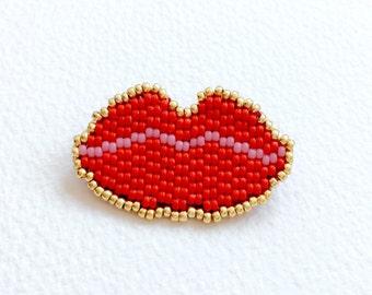Miyuki Woven Pearl Brooch Vermilion Red