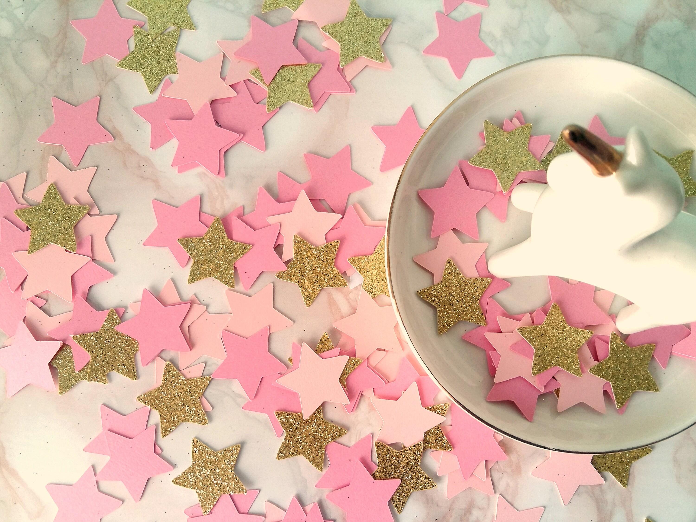 Pink Gold Glitter Star Confetti