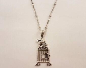 Birdcage necklace, birdcage pendant, personalised necklace
