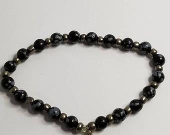 Root Chakra Snowflake Obsidian and Hematite Reiki Infused Crystal Bracelet